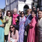 Ladies enjoying the Spring sunshine and refreshments at Mani's Retirement Party